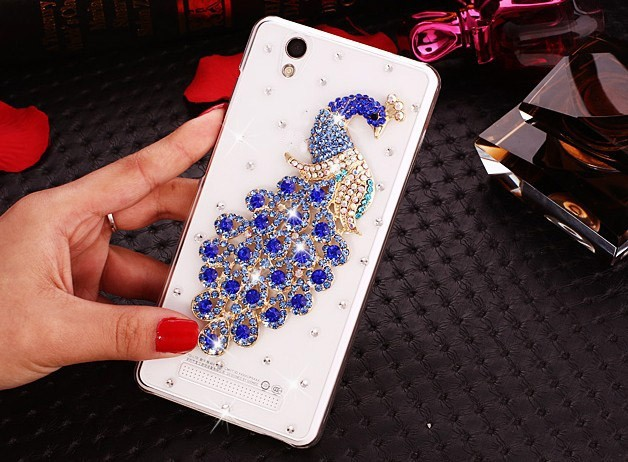 SK Elegant Peacock 3D Crystal Bling Case Rhinestone Cover Case For ZTE Blade X3 / Blade T620