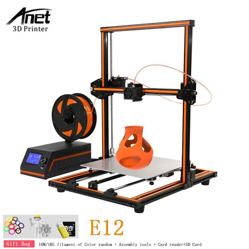 Anet E12 Grande Taille 300x300x400 3D Imprimante DIY Kit Châssis En Alliage D'aluminium Pur Métal Buse 3D imprimante Machine Avec Filament