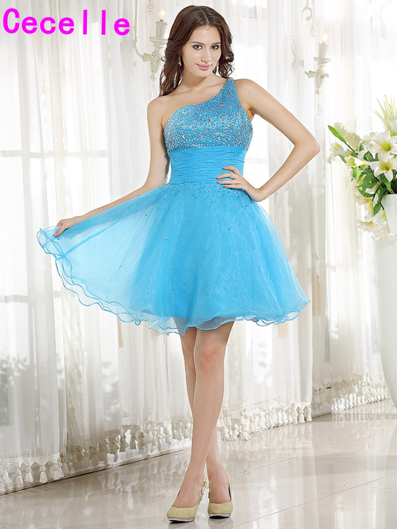 New Blue One Shoulder Short Juniors   Cocktail     Dresses   With Straps Short Holiday   Cocktail   Party   Dresses   In Blue Crystals A-line