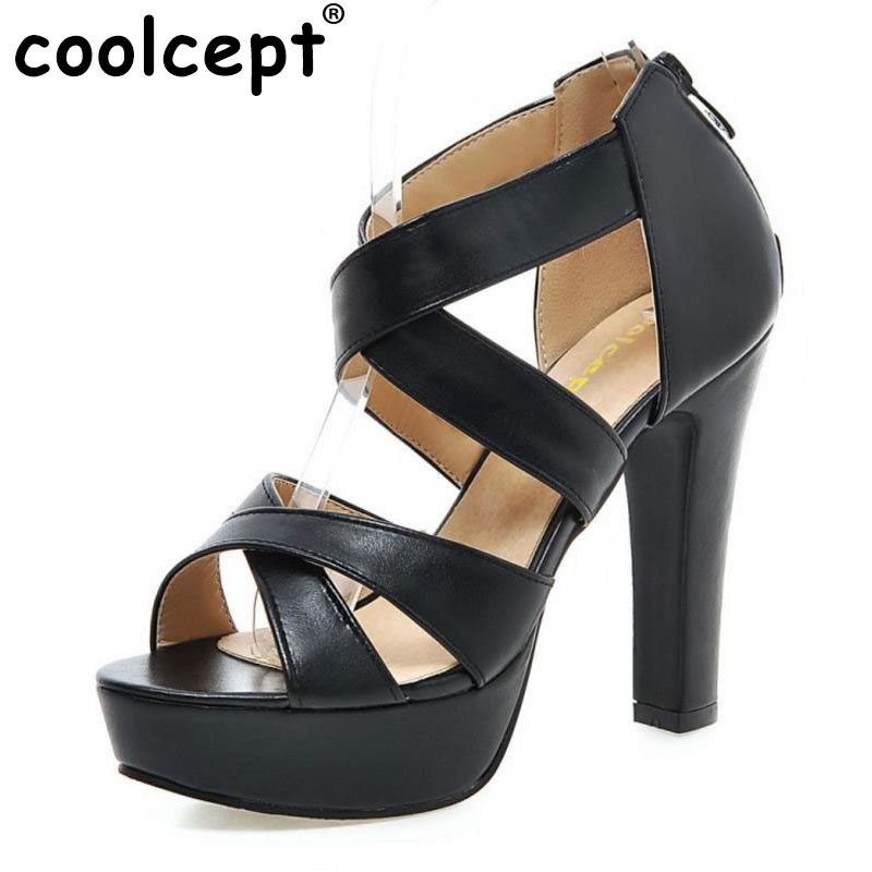 Coolcept women cross strap sandals sexy platform shoes woman zipper heels footwear pure color heeled shoes size 31-47 PB00025 brand new strap high heels sandals women sandals with platform footwear woman evening shoes women sexy ladies shoes