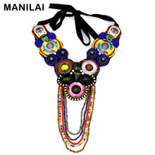 Fashion Ethnic Collar Necklace For Women Resin Ceramic Beads Tassels Vintage Boho Statement Necklaces & Pendants Accessories(China)
