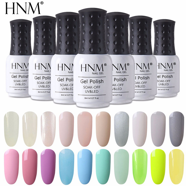 HNM 8ml UV Led Gel Nail Polish Light Color Series Base Top Coat Primer