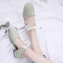 RWHK 2019 summer new wild bow in the thick with Baotou single shoes female flat student B272