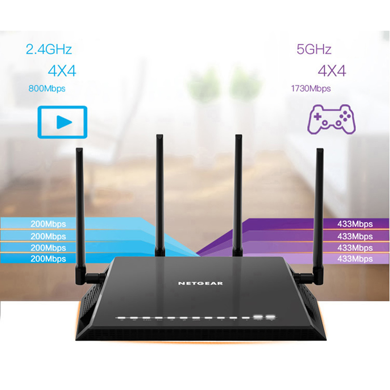US $293 98 |NETGEAR R7800 Nighthawk X4S Smart WiFi Router  AC2600(800Mbps+1733Mbps) 802 11ac Dual Band Gigabit 2*USB3 0 Multi Language  -in Wireless