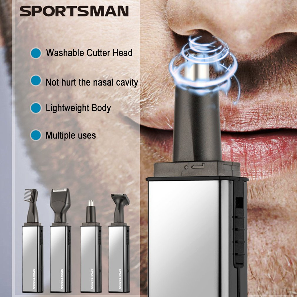 SPORTSMAN <font><b>4</b></font> <font><b>in</b></font> <font><b>1</b></font> Men Ear Nose <font><b>Hair</b></font> Beard Eyebrow Trimmer <font><b>Electric</b></font> Shaving Tools <font><b>Kit</b></font> Rechargeable Sideburns <font><b>Trimming</b></font> Machine
