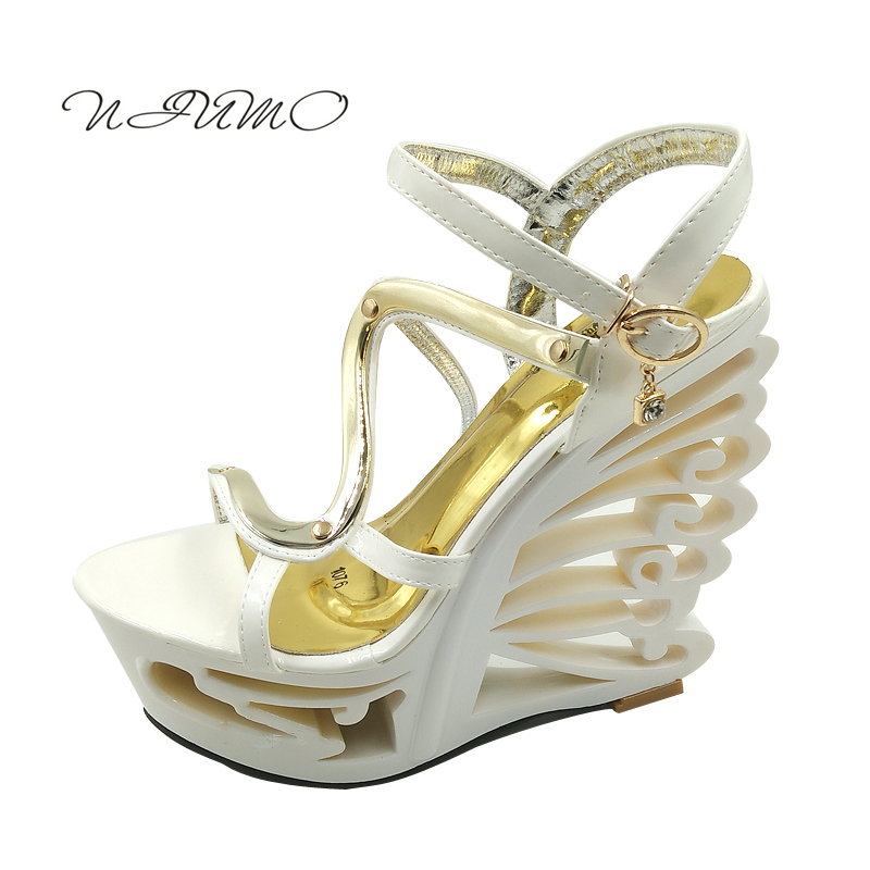 Korean version of the summer was thin super high heel wedge sandals 16cm high nightclub sexy hollow Roman sandals women