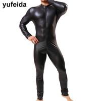 YUFEIDA Sexy Faux Leather Mens Long Pants Jumpsuits Leotard Costume Gay Man Underwear Bodysuit Wrestling Singlet PU Leather Suit