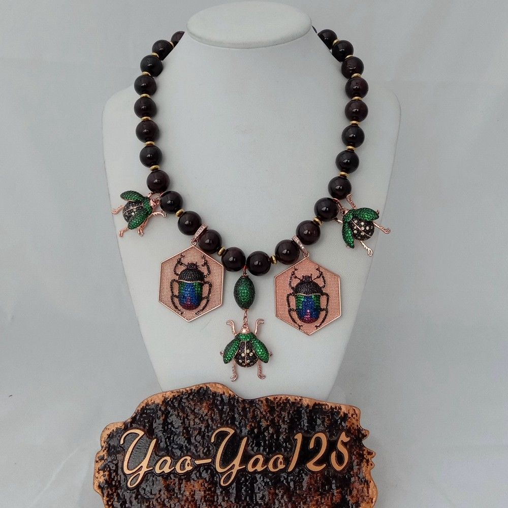 18 Red Garnet Cz Pave Insect Statement Necklace18 Red Garnet Cz Pave Insect Statement Necklace