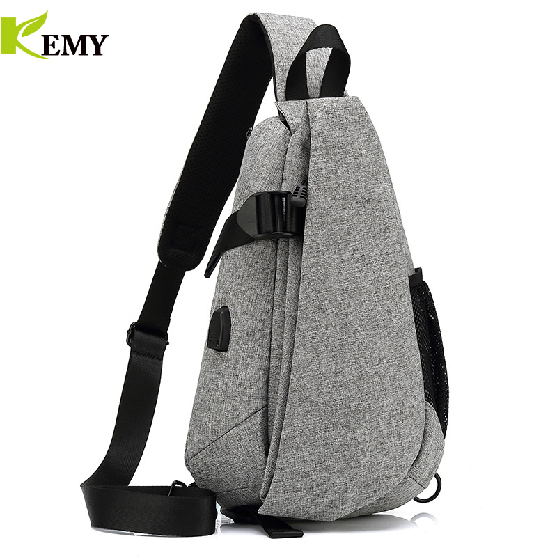 KEMY New Arrival Crossbody Bags Men Chest Pack Short Trip Messengers Bag Waterproof Shoulder Bag USB Sling Bag For Ipad Pocket 6