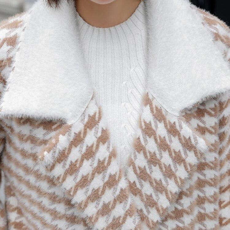 Lâche Automne Longues Femme Plaid Hiver Mode Élégant Lady Veste Casaco Black Longue Feminino Manches 2018 Streetwear Manteau Pardessus De khaki Revers qwZnfXxF4