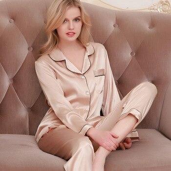 Lisacmvpnel Ice Silk Loose Women Pajamas Rayon Sleepwear Long Sleeve Trousers Two Paper Suit - discount item  36% OFF Women's Sleep & Lounge