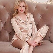 Lisacmvpnel buz ipek gevşek kadın pijama Rayon pijama uzun kollu pantolon iki kağıt takım elbise