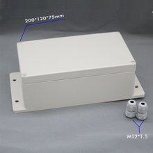 цена на Wall Mounting waterproof junction box with cable gland 200*120*75mm enclosure include 2pcs M12 cable gland