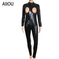 AIIOU Hollow Out Faux Leather Costume Women Latex Outfit Strappy Black Bodysuit Zipper Catsuit Wetlook Jumpsuit Erotic Club Wear