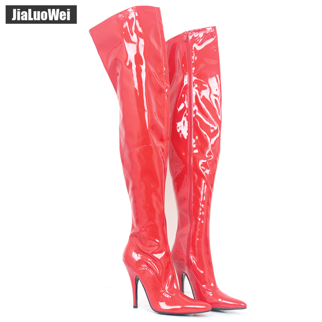 e81e45bfde2 Jialuowei 12CM High Heel ladies sexy fetish thigh high boots Women Casade pointed  toe Zip stiletto Thin heels crotch Long shoes