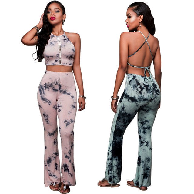 7fd3c19d797 2017 Rompers 2 Piece Set Women halter Crop Top And wide leg Pants Suit Sexy  Hollow Out Print Casual 2 Pcs Set Tracksuit