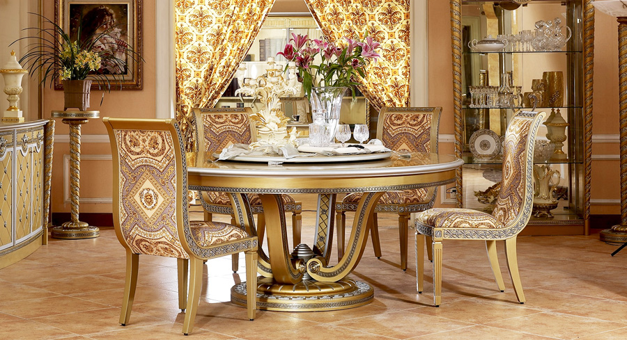 luxury new classical style wood carving round dining table(China (Mainland))