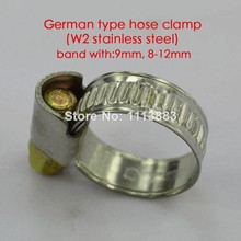 German type 9mm band width hose clampspipe tube clips( W2 stainless steel,  8-12mm)