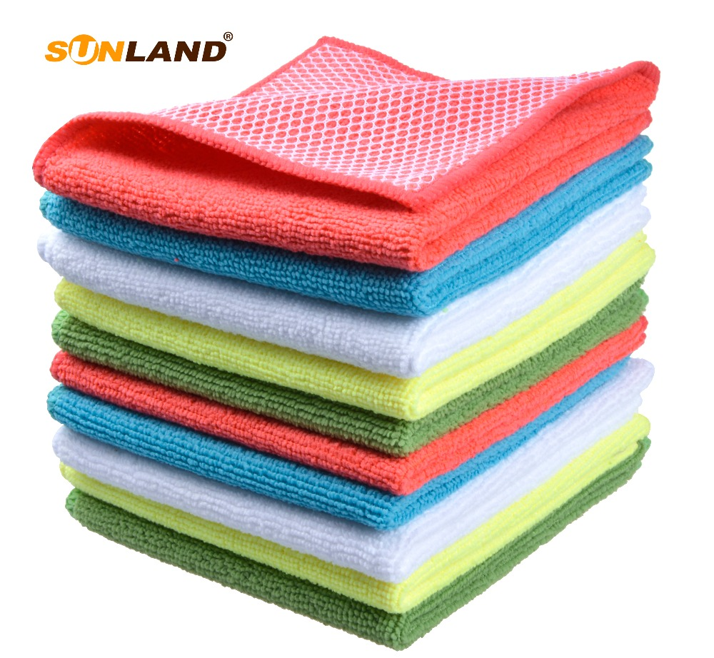Sinland Microfiber Kitchen Dish Cloth With Poly Scour Side Kitchen Dish Towels Cleaning Rag 5 Assorted Color 12Inx12In 10 pack