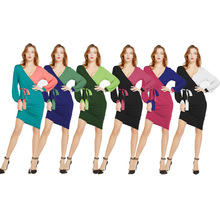 2019 hot selling models Europe and America ladies womans gown color matching lantern long sleeve sexy high waist womens dress
