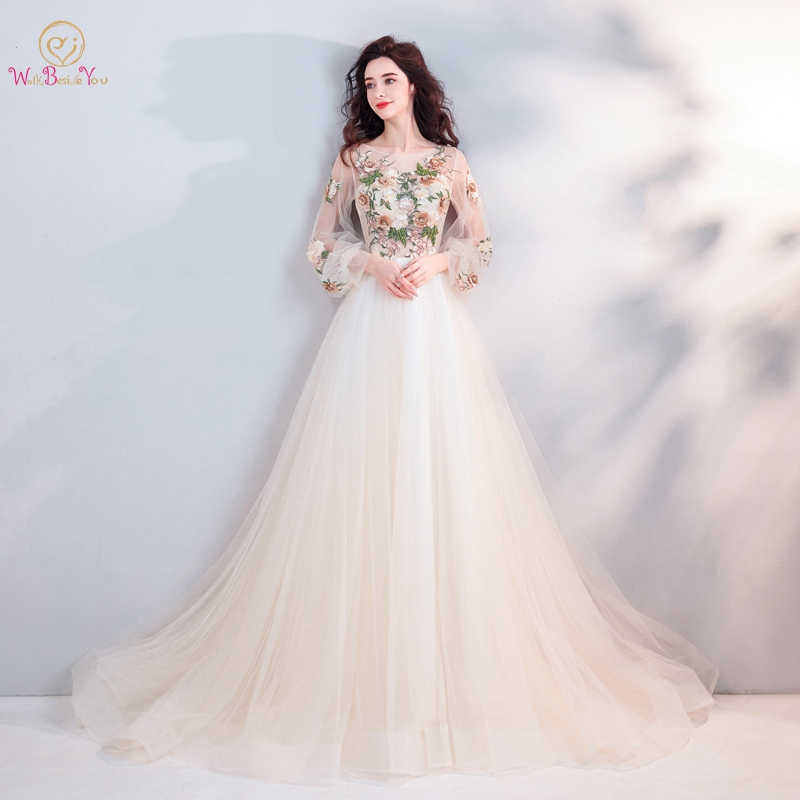 Prom     Dresses   Estido De Festa Longo Full Sleeves 2019 Light Champagne Lace Floral Beading A Line Evening Gowns Walk Beside You