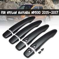 4 Pcs ABS סיבי פחמן שחור ידית דלת כיסוי עם חכם מפתח חור לניסן NAVARA NP300 2015 ~ 2017-בעיצוב פנים מתוך רכבים ואופנועים באתר