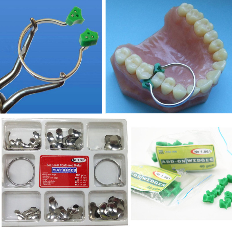 40Pcs Dental Add-On Wedge+100Pcs/Set Dental Sectional Contoured Matrices Matrix Ring Delta