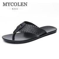MYCOLEN Для мужчин модные сандалии летние дизайнерские Вьетнамки Марка пляжная обувь Одежда высшего качества классики тапочки Мужская обувь