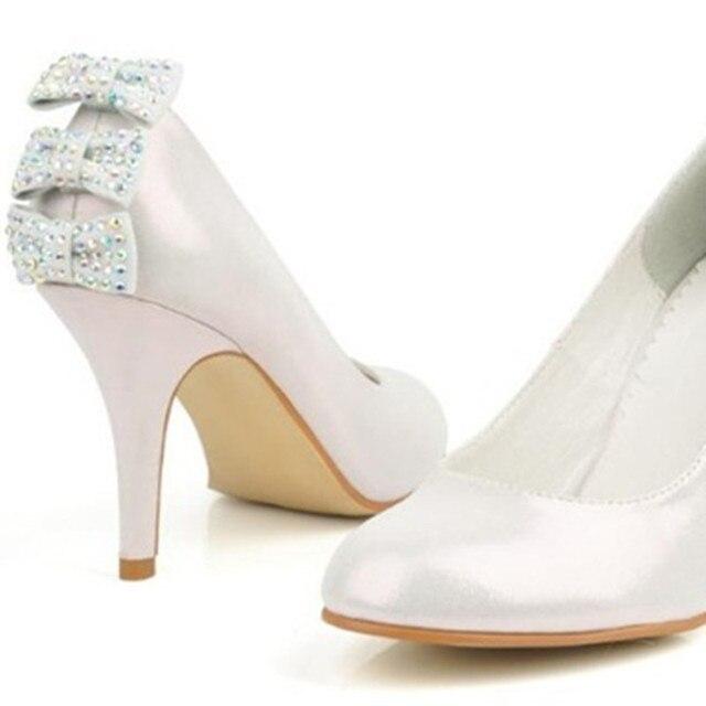 601e1d359 Luxo feminino strass Falso arcos cinderela artesanal Elegante real do couro  genuíno sapatos de salto alto