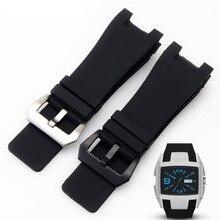 32x17mm En Caoutchouc de Silicone bracelets De Montre En Acier Inoxydable Broches Fermoir pour Diesel DZ1216 DZ4246 DZ1215 Hommes Montre Accessoires bandes + Outils
