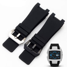 32x18mm Silicone Rubber Watch straps Stainless Steel Pin Clasp for Diesel DZ1216 DZ4246 DZ1215 Men Watch Accessories Bands+Tools(China)