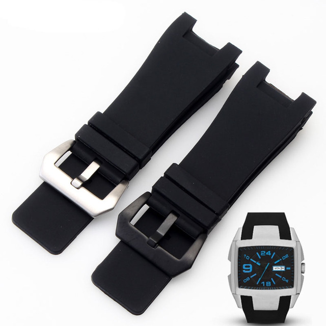 32x17mm Silicone Rubber Watch straps Stainless Steel Pin Clasp for Diesel DZ1216