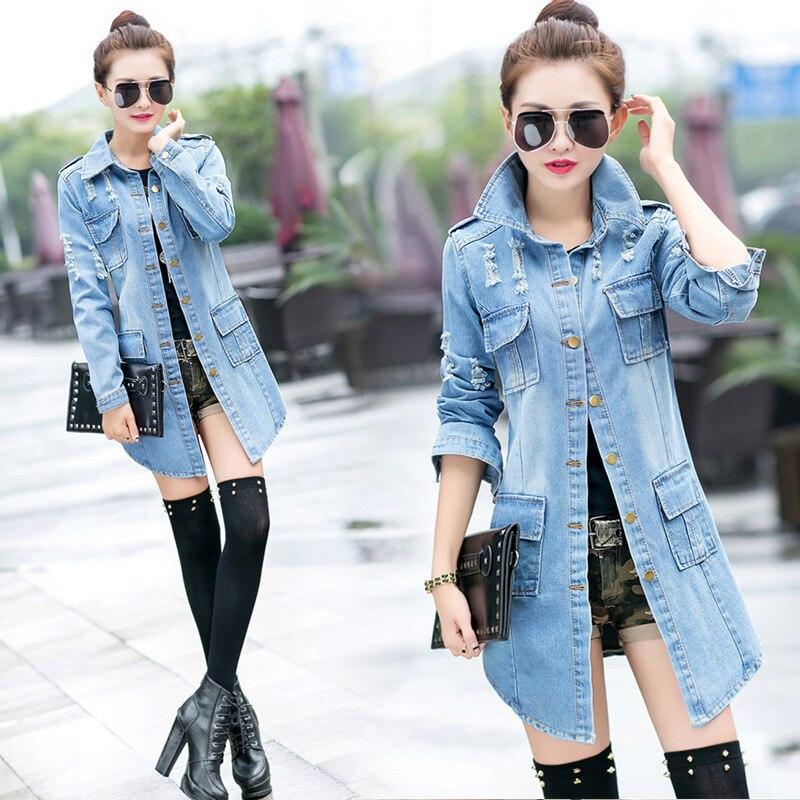 Autumn Hole Denim Jackets Plus Size S-3XL Slim Jeans Outwear Tops Long-sleeved Cardigan Cowboy Medium Length Coat Female
