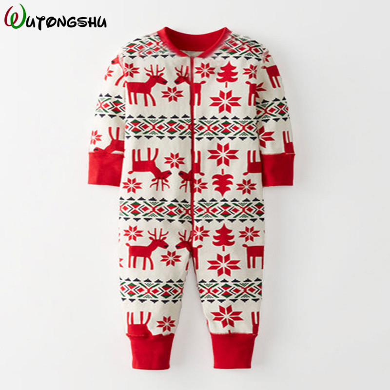 Christmas Newborn Baby Rompers For 0-24M Full Long Sleeve Cotton Jumpsuit Autumn Baby Clothes Kids Onesie Overall Outfit Pajamas