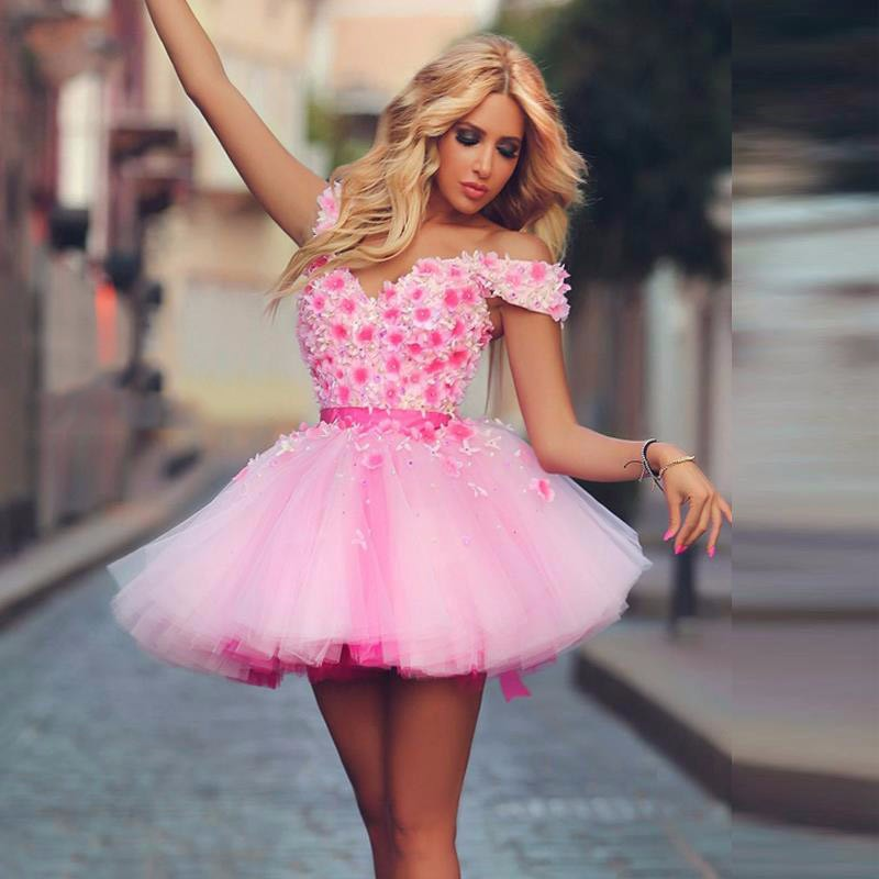 Cute Pink Mini Short   Cocktail     Dresses   Flower Appliques Prom   Dresses   Party Gowns 2019 Custom Made Homecoming   Dresses
