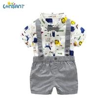 LONSANT zestawy ubrań dla chłopców letnie produkty dla dzieci Bebe bawełniane bluzki + spodenki 2 szt Garnitur dla niemowląt odzież dla niemowląt N30 tanie tanio COTTON Moda Skręcić w dół kołnierz Swetry Krótki REGULAR Pasuje prawda na wymiar weź swój normalny rozmiar Suknem