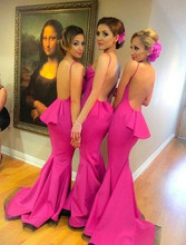 robe demoiselle d honneur Sexy Backless Mermaid Party Gowns Long Bridesmaid Dresses 2016