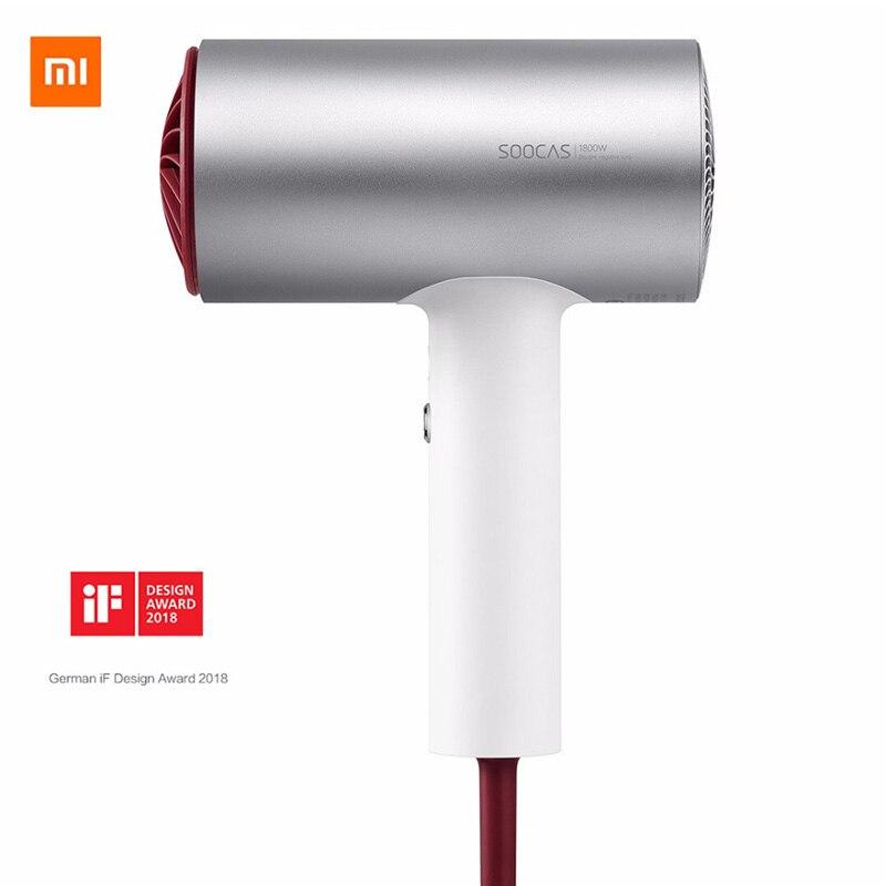 2018 Novo Xiaomi Soocare Soocas H3 Ânion Secador de Cabelo Corpo em Liga de Alumínio 1800 w de Saída de Ar Anti-Quente Inovador projeto de desvio