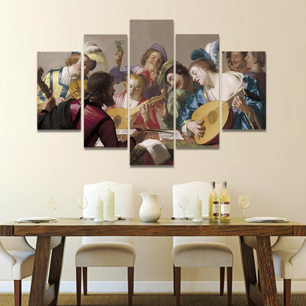 Unframed Canvas Oil Painting Music Party Singing People Playing People Prints Wall Pictures For Living Room Wall Art Decoration