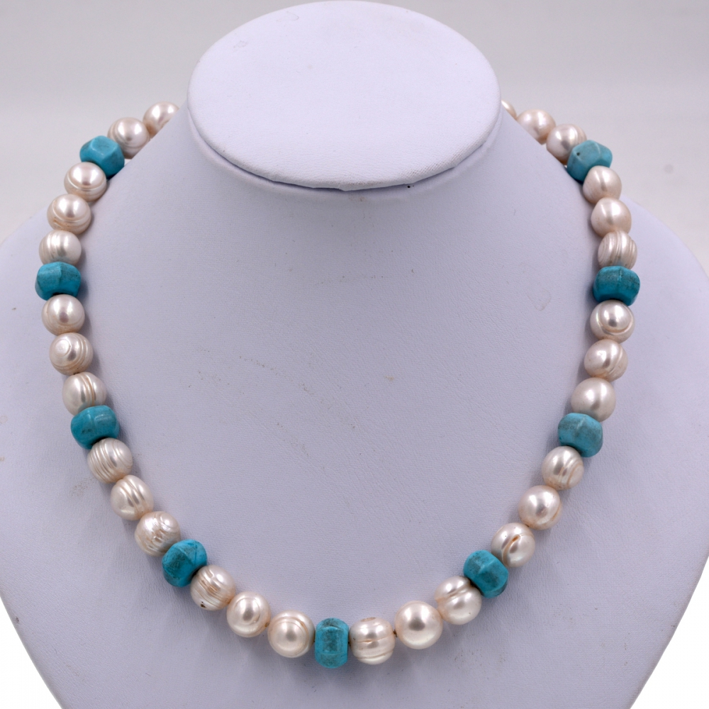 Exclusive 9-10mm Thread White Pearl Beads Blue Turquoises Bib Pearls Strand Necklace Brand Jewelry 2018