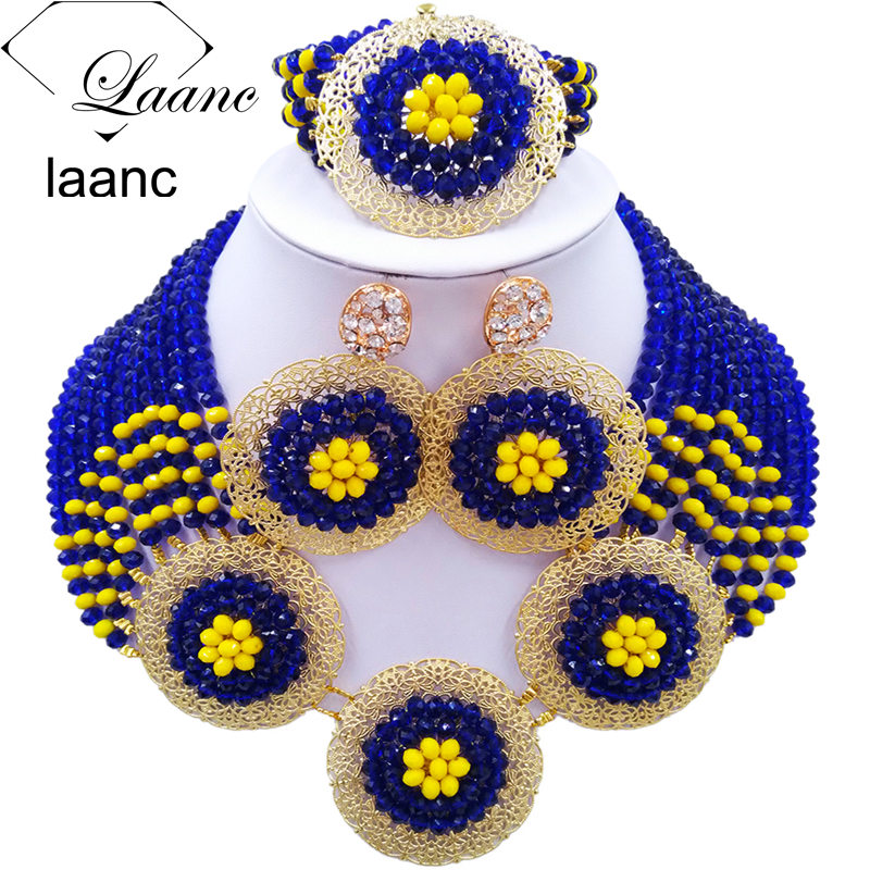 Laanc Royal Blue and Yellow African Beads Jewelry Set Crystal Beaded Nigerian Necklace Wedding Accessories AL518Laanc Royal Blue and Yellow African Beads Jewelry Set Crystal Beaded Nigerian Necklace Wedding Accessories AL518