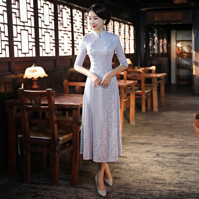 Light Gray Fashion Chinese style Women's Long Cheongsam New Arrival Lace Dress Elegant Slim Qipao Vestido Size S M L XL XXL XXXL женское платье brand new 2015 vestidos 5xl s m l xl xxl xxxl 4xl 5xl