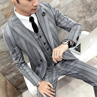 Pinstripe Suits Mens British Style Suits Mens Gentleman Wedding Suits for Mens 2018 Grey Tuxedo Social Terno Masculino Slim Fit