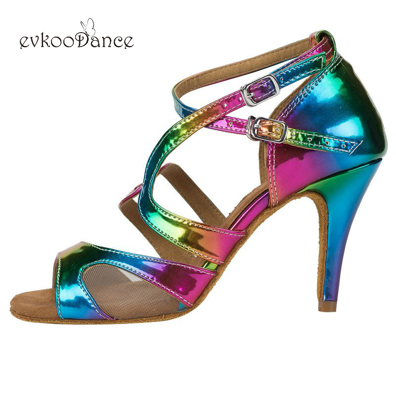 Zapatos De Baile Mesh With Colourful Pu 8.5 Cm Heel Height Dancing Shoes Professional Size US 4-12 Salsa Latin Satin NL157