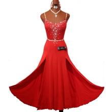 キラキララインストーン赤ラテンダンスドレス女性のステージパフォーマンスのためのアクセサリーとチャチャルンバサンバ練習服女性