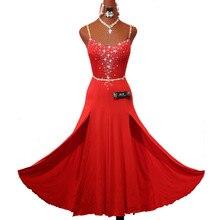 נוצץ Rhinestones אדום ריקוד לטיני שמלה עם אביזרי לנשים שלב ביצועים Cha Cha רומבה סמבה בפועל בגדי גברת