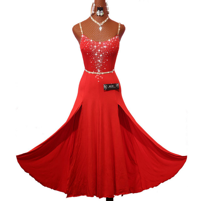 Sparkly Rhinestones Red Latin Dance Dress with Accessories for Women Stage Performance Cha Cha Rumba Samba Practice Clothes Lady