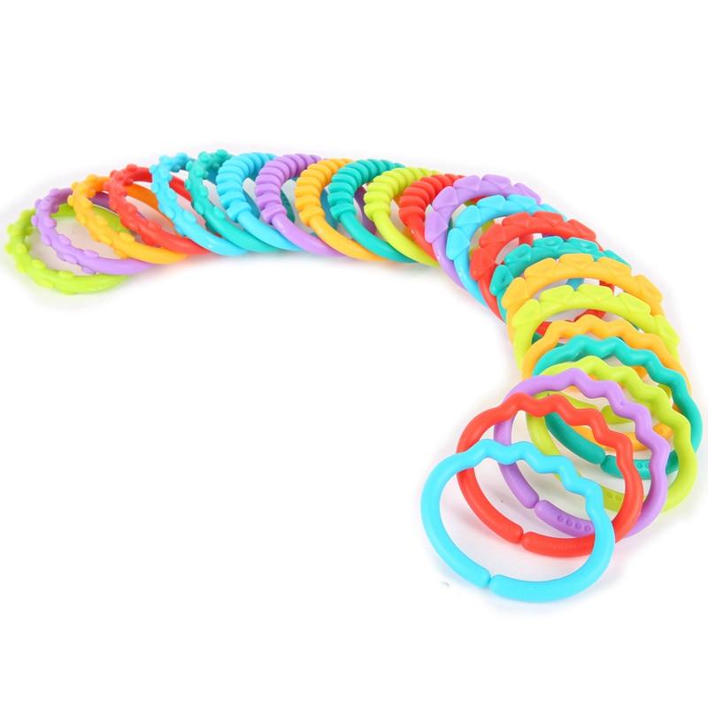 Kacakid 24pcs set Baby Toys Rainbow Qq Molar Children Ring Plush Ring Clutch Chain Ring Ring