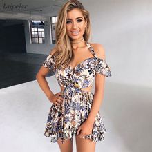 Ruffles Fashion Sexy Off Shoulder Print Floral Mini Party Dress Women New  halter Elastic Summer Casual Beach Vestidos