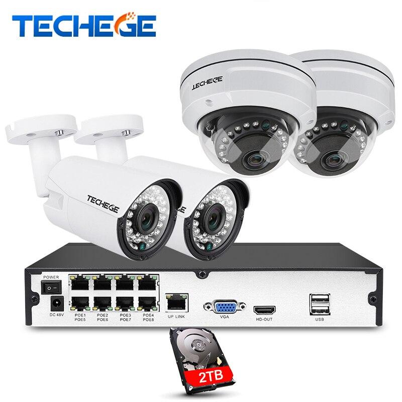 Techege 8CH completo 1080 p POE NVR kit 2.0MP 3000tvl visión nocturna cámara domo IP POE Cámara P2P vigilancia nube kit cctv sistema